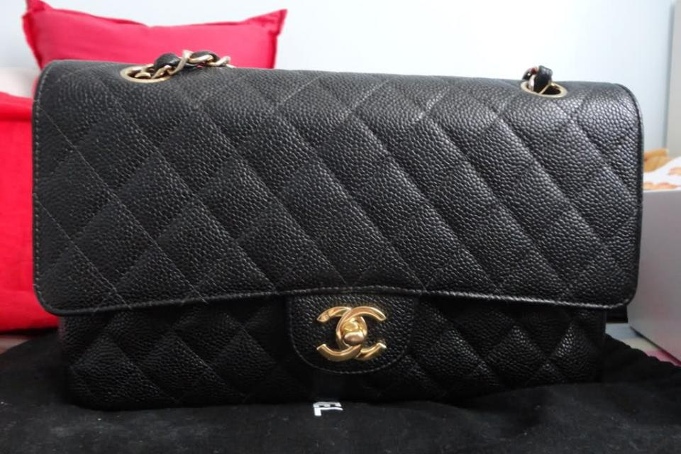 Authentic Chanel Caviar Flap...with receipt Large Photo