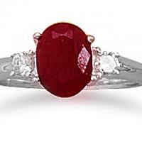 Rough-Cut Faceted Ruby and CZ Ring Photo
