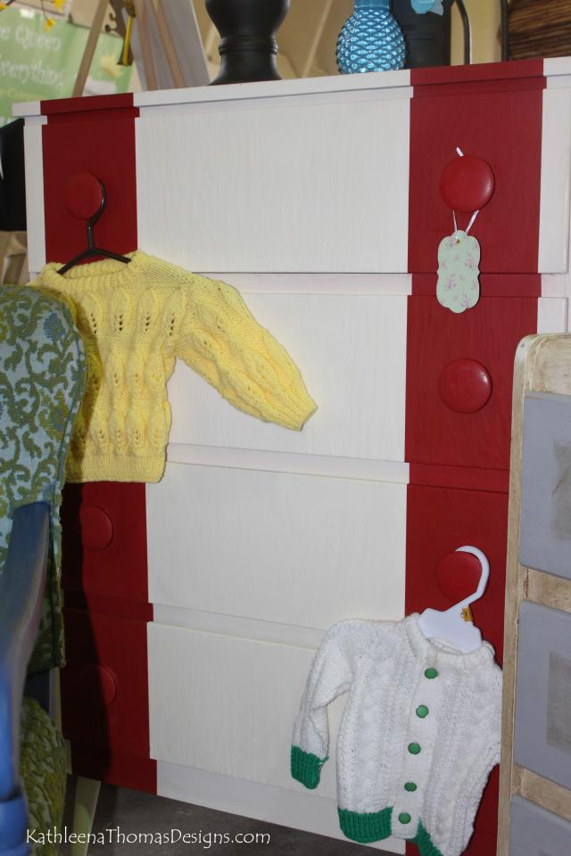 Red and White Striped Dresser Photo