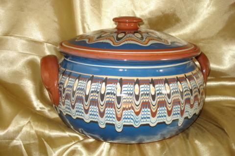 Bulgarian blue-brown troyan heaven pottery gyuvech Photo