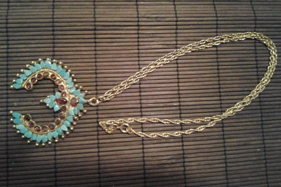 Native Design Turquoise/Amelyst Chip Necklace -No Returns Large Photo