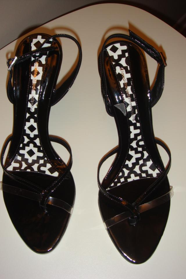 New Claudina black patent leather slingback sandals Photo