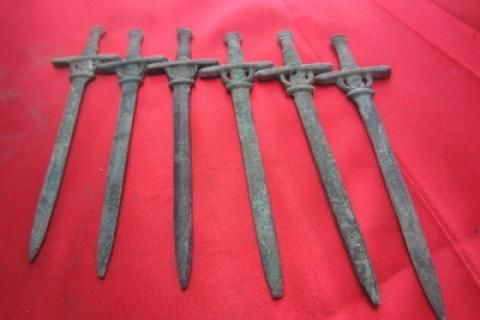 Collection of 6 VERY OLD Chinese Brass Handcarved SWORDS, AMAZING WEAPONRY!! Photo
