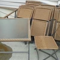 2 GLASS TABLES PATIO SET WITH 18 WICKER - STEEL CHAIRS -ITEM IS IN THE BRONX, N.Y. Photo