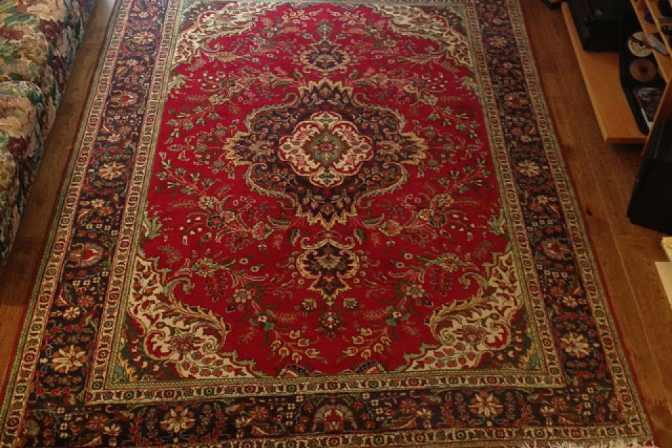 Hand Knotted Kashan Wool Carpet from Iran Large Photo