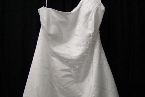 New White Satin Beaded One Shoulder Wedding Dress Sz 18 Photo