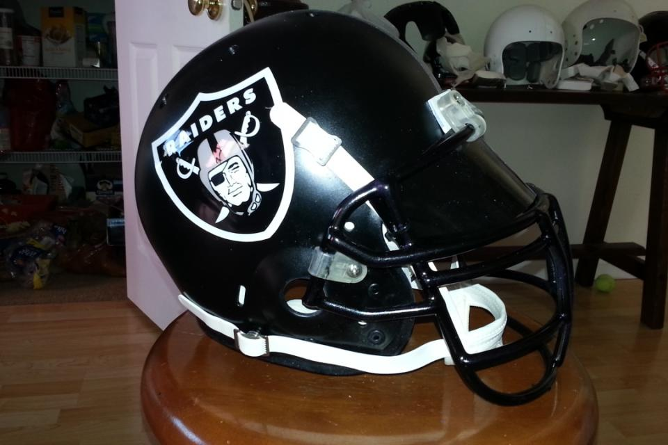 CUSTOM RAIDERS HELMET  BLACK MATTE FINISH VERY COOL Large Photo
