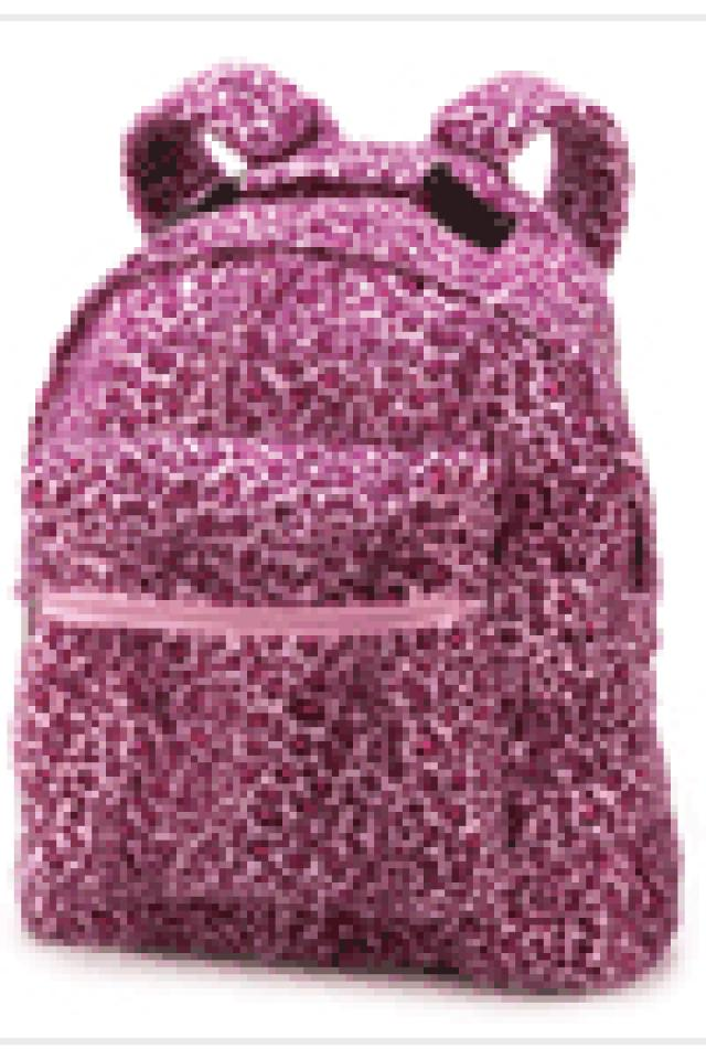 Pink leopard plush Backpack Photo