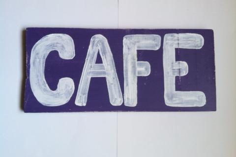Painted Wood CAFE Art Sign (Hollywood) Photo