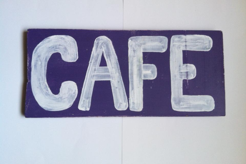 Painted Wood CAFE Art Sign (Hollywood) Large Photo