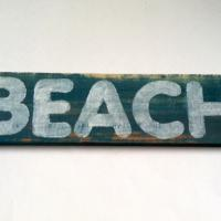 Reclaimed Wood Painted BEACH Sign (Hollywood) Photo