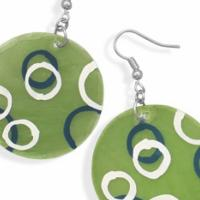 Green Shell French Wire Earrings With Hand Painted Circles  Photo