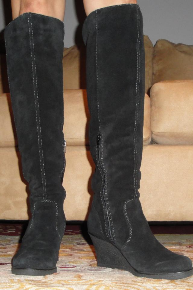 Aldo Black Suede Spivak Wedge Boots sz8 Photo