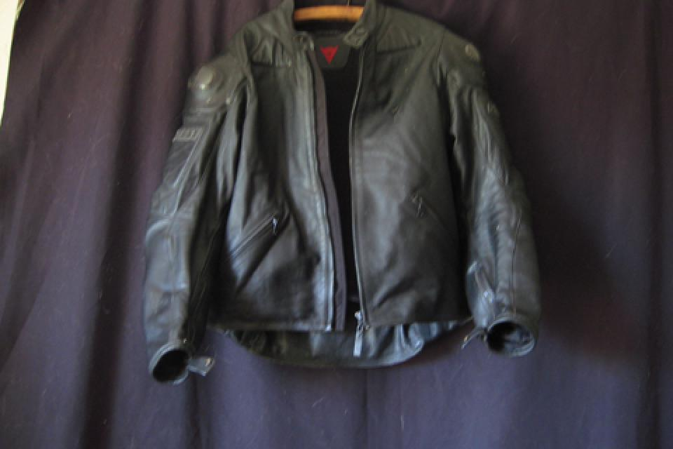Dainese black leather motorcycle jacket Large Photo