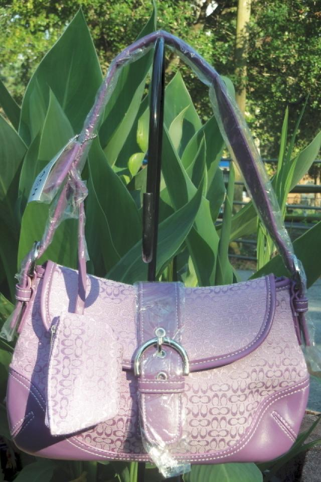 Coach Purple Mongrammed Canvas Satchel Handbag Purse Large Photo