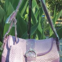 Coach Purple Mongrammed Canvas Satchel Handbag Purse Photo
