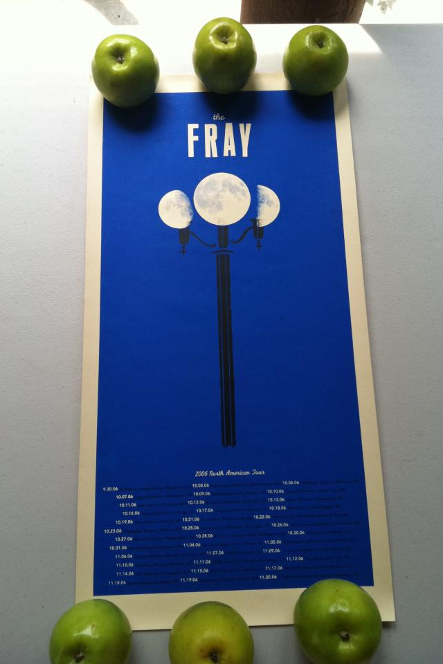 The moon is a lovely streetlight on this limited edition tour poster from The Fray.  Photo