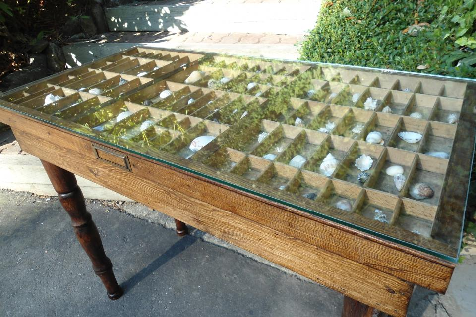 Antique printers tray coffee table with glass top Large Photo