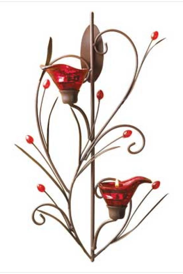Ruby Blossom Tealight Sconce Photo