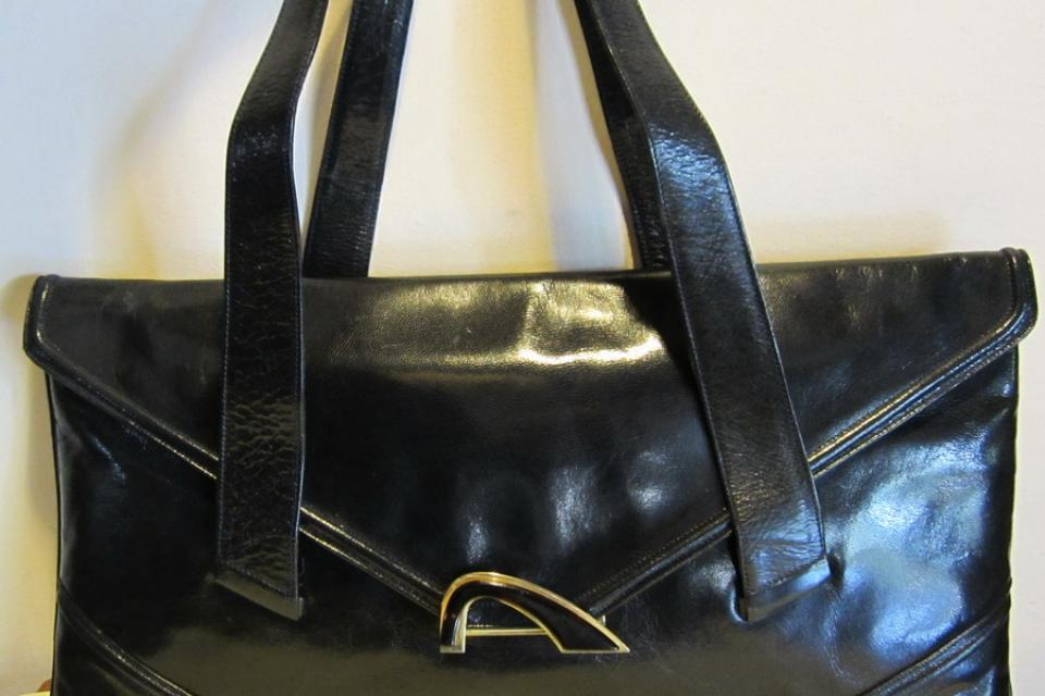 Gorgeous Italian vintage black leather bag ,Melluso, Italy Large Photo