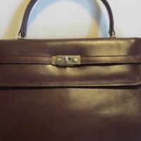 Gorgeous XL vintage burgundy leather handbag. Kelly bag Photo