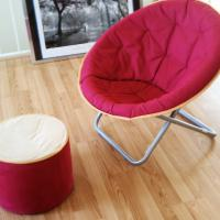 >>Target Pink & Orange Lounge Chair & Foot Stool<< LIKE NEW! Photo
