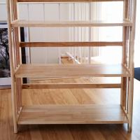 **OAK BOOKSHELF- 3 Tier Stackable Folding Oak Bookshelf-EXCELLENT COND Photo