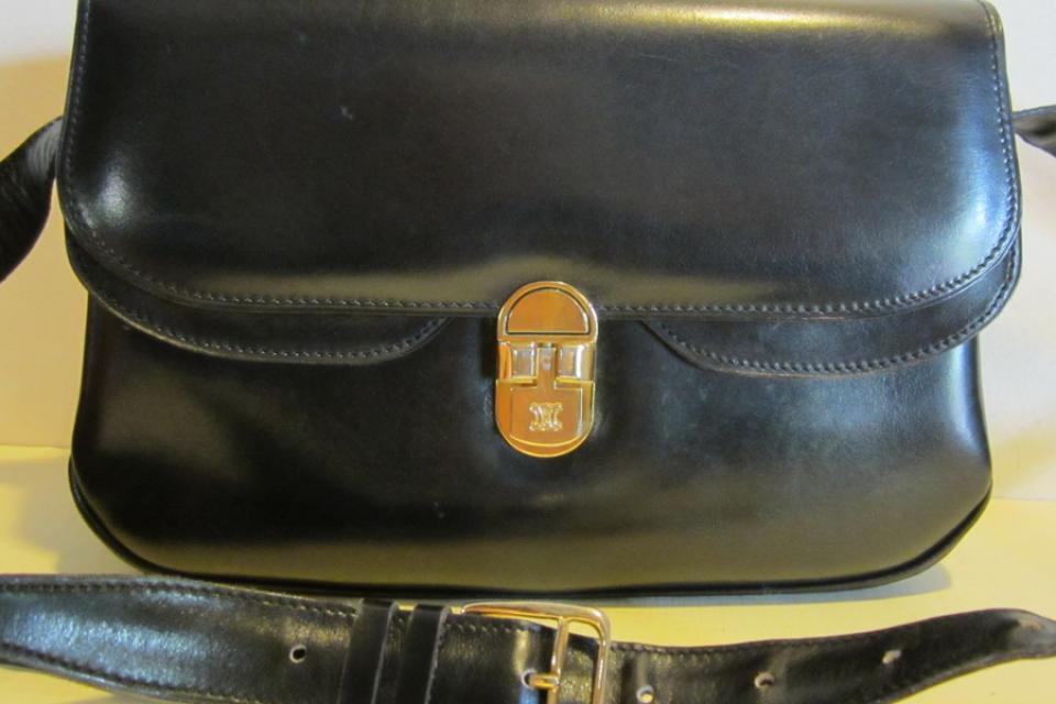 Gorgeous vintage CELINE, black leather bag PARIS Large Photo