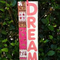 Lovely Pink and White Bandana Wood DREAM Sign (Hollywood) Photo