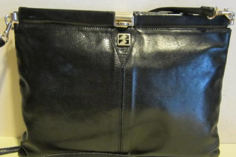 Gorgeous Italian vintage black leather clutch , evening bag , sling, Florence Italy Photo