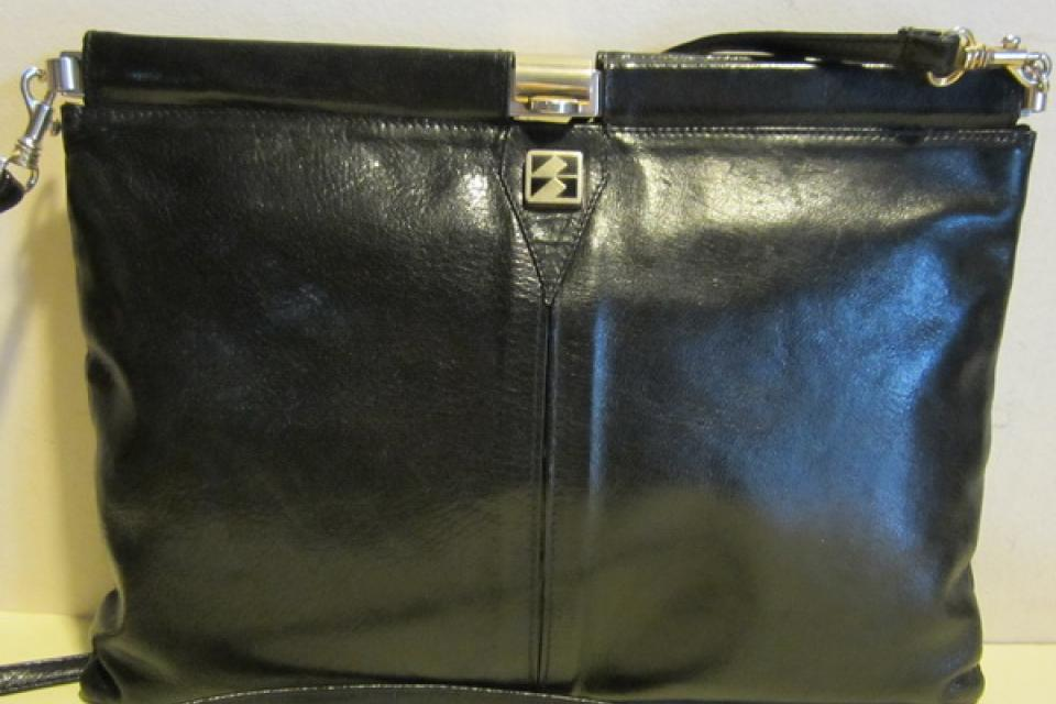 Gorgeous Italian vintage black leather clutch , evening bag , sling, Florence Italy Large Photo
