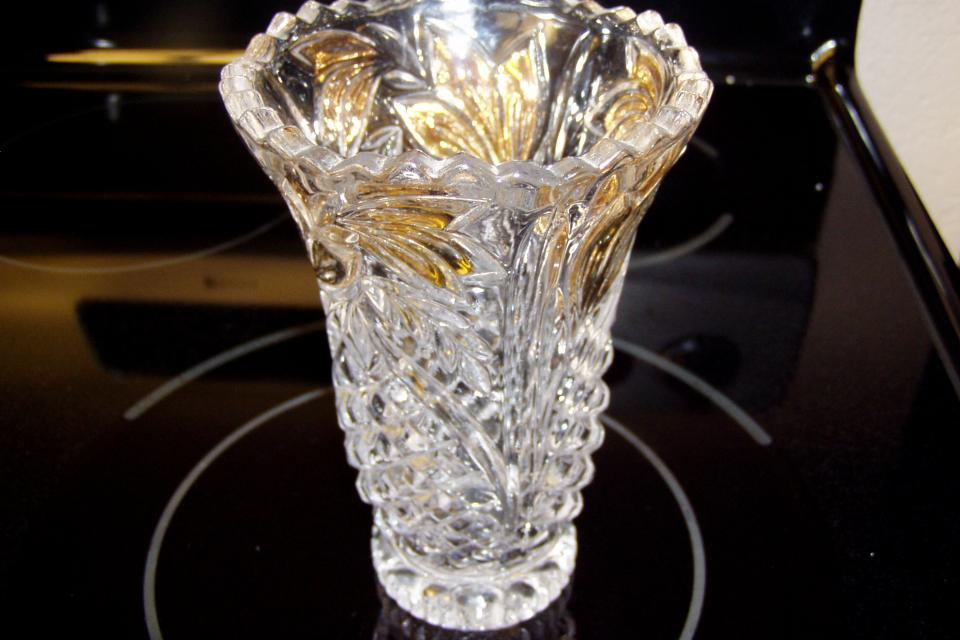 ANTIQUE LEADED CUT CRYSTAL VASE Large Photo
