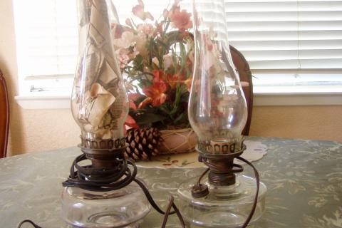 ANTIQUE ELECTRIC HURRICANE LAMPS Photo