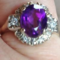 Appraised for $895!  Vintage Ring,14k gold with diamonds &amp; amethyst.  Photo