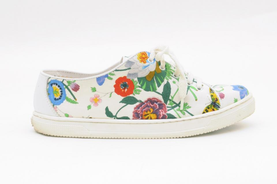 Gucci Vintage Ivory & Colorful Floral Canvas Sneakers Large Photo