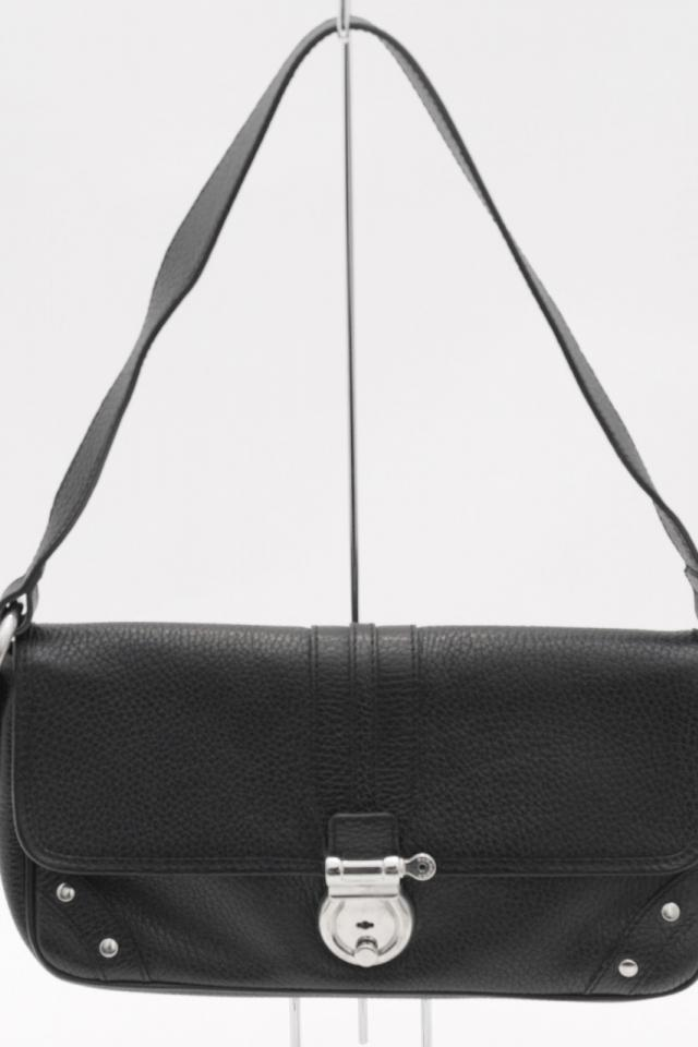 Burberry Black Leather & Silver Lock Shoulder Bag Photo