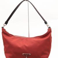 Prada Red Nylon & Leather Logo Satchel Photo