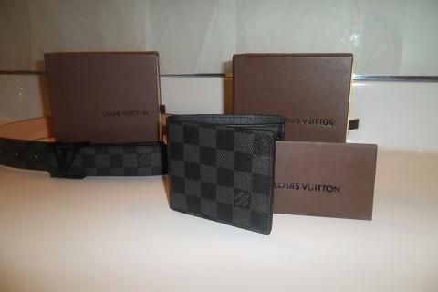 Louis Vuitton Graphite Damier Wallet & Belt Size 34-38!! Photo