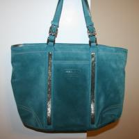 Coach Blue Suede Beaded Tote Photo