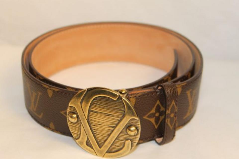 Louis Vuitton Brown Monogram 90-36 Small Medium Unisex Belt with LV Buckle NWT Large Photo