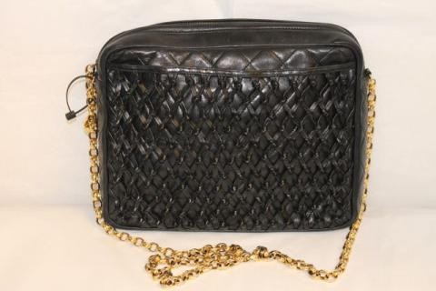 Chanel Vintage Black Quilted Lambskin Woven Front Shoulder Bag Photo