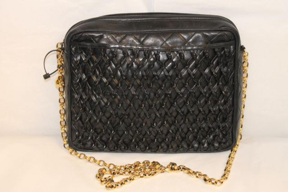 Chanel Vintage Black Quilted Lambskin Woven Front Shoulder Bag Large Photo
