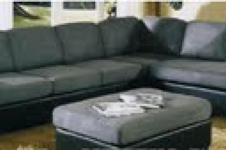 Brand new 2 tone grey sectional with ottoman Large Photo