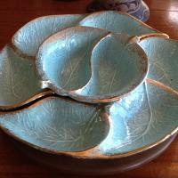 Vintage Green Gold 4 Piece Serving Set Photo