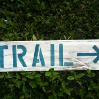 Hiking Trail Whitewashed Wood Sign (Hollywood) Photo