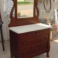 ANTIQUE DRESSER COMMODE WITH MIRROR MISSION SHABBY Photo