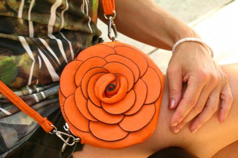 Orange Leather Flower Purse Photo
