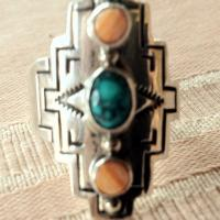Sterling silver ring, with turquoise and amber Photo