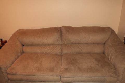 Suede Couch and Lounge Chair Photo