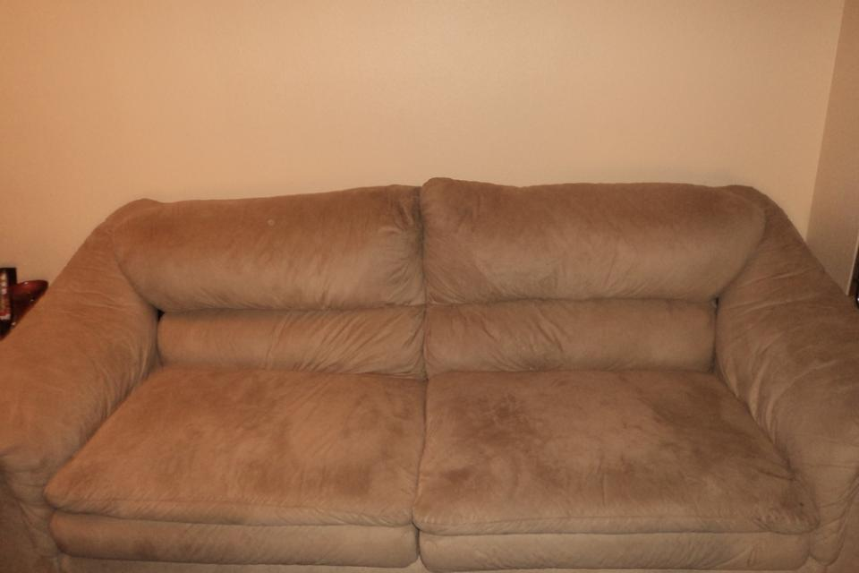 Suede Couch and Lounge Chair Large Photo